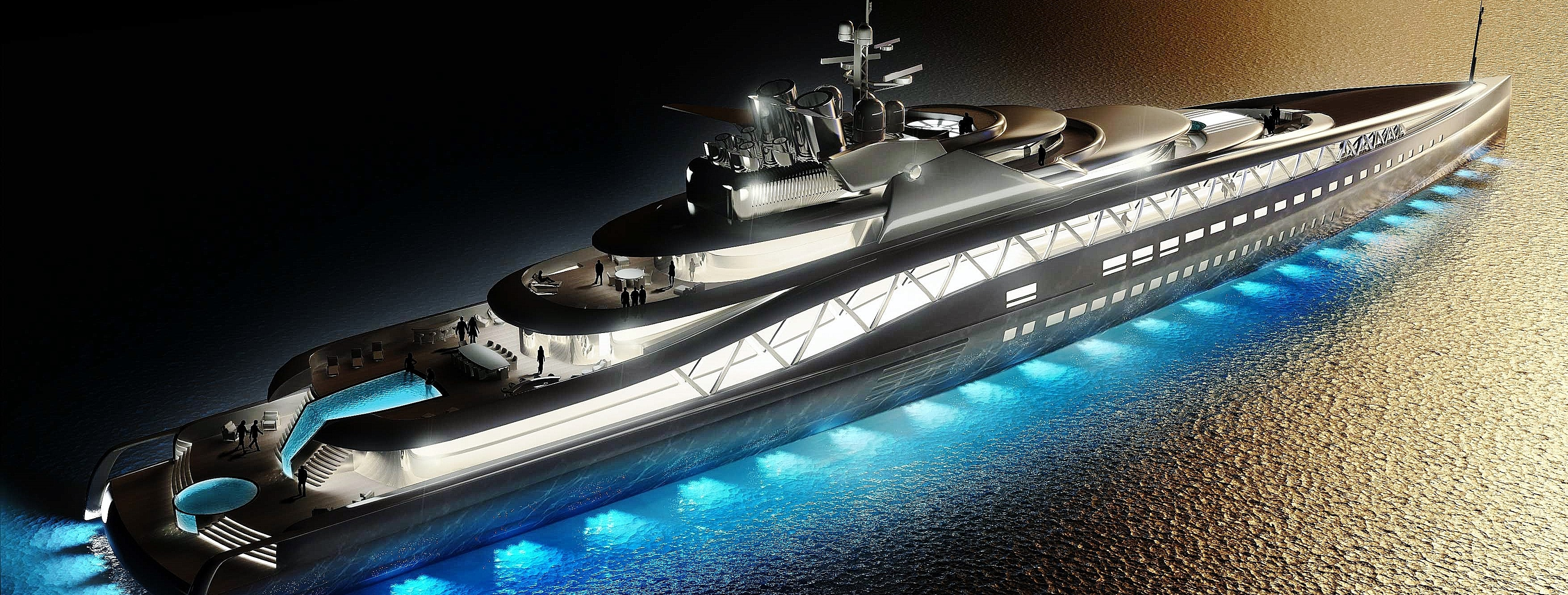 Superyachten concept  Fortissimo-superyacht-concept-by-night (2) - Yacht Experts